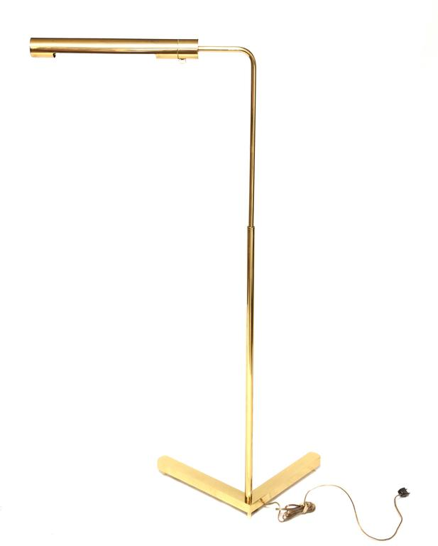 20th Century Beautiful Vintage Brass Swivel Floor Lamp by Casella For Sale