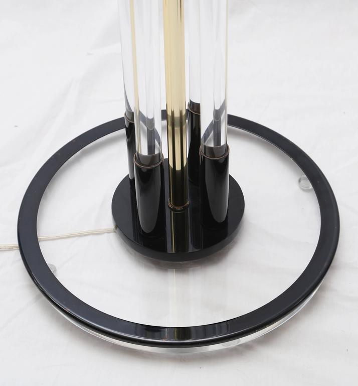 Beautiful Pair of Vintage Bauer Black and Clear Lucite Floor Lamp In Excellent Condition For Sale In West Palm Beach, FL