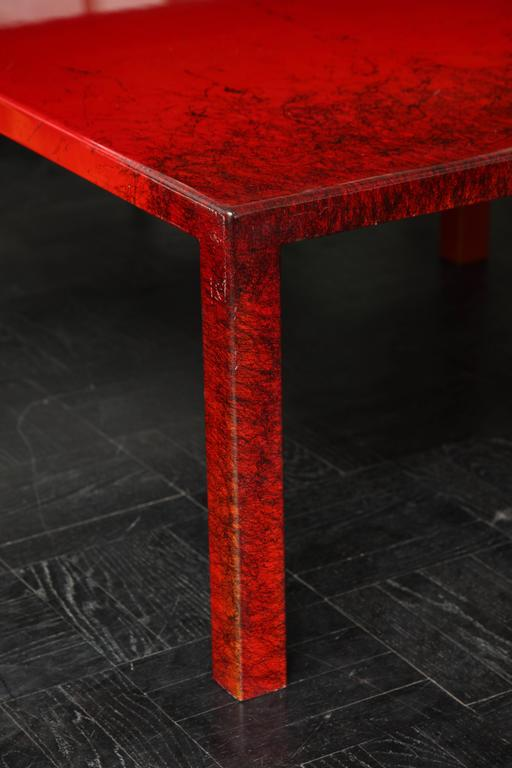 Contemporary red laquered coffee table square leg for for Red modern coffee table