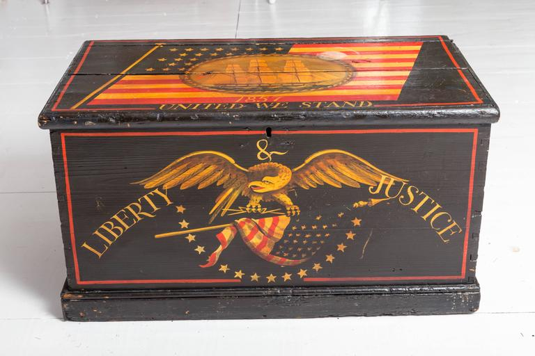 Antique Paint Decorated Sea Chest At 1stdibs