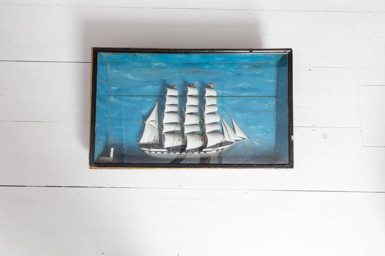 19th Century French Ship Diorama 'Louise' Shadow Box In Good Condition For Sale In Westhampton Beach, NY