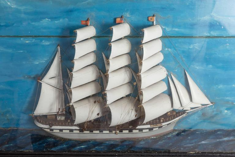 19th Century French Ship Diorama 'Louise' Shadow Box For Sale 1