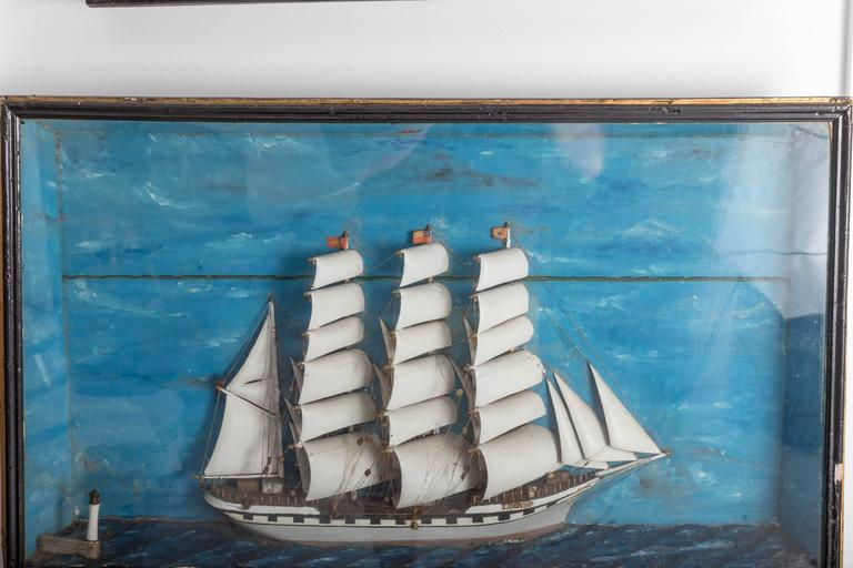 19th Century French Ship Diorama 'Louise' Shadow Box For Sale 5