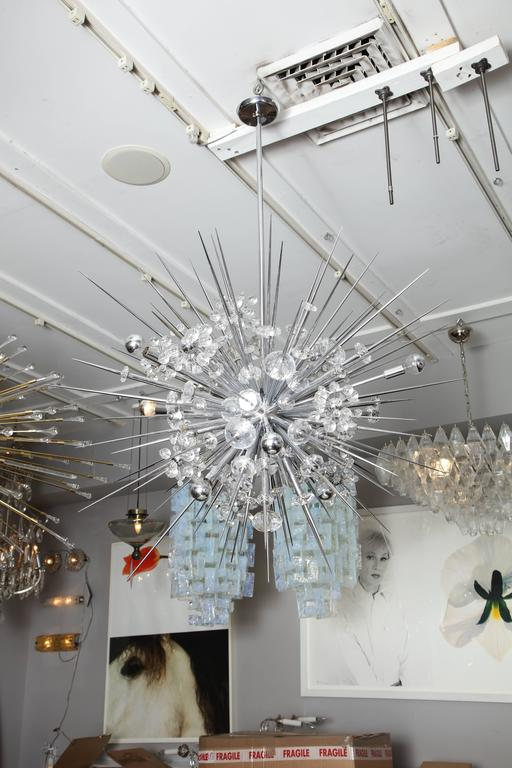 Contemporary Glamorous Custom Austrian Crystal and Polished Nickel Spiked Sputnik Chandelier For Sale