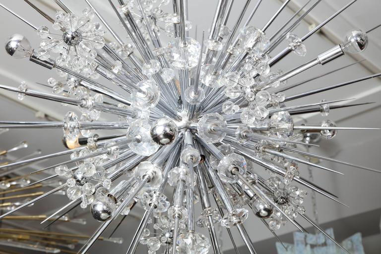 Glamorous Custom Austrian Crystal and Polished Nickel Spiked Sputnik Chandelier For Sale 1
