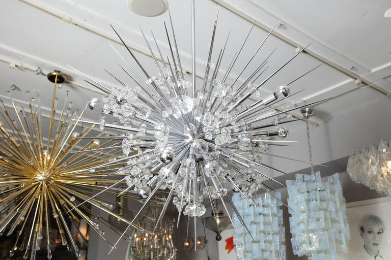 Glamorous Custom Austrian Crystal and Polished Nickel Spiked Sputnik Chandelier For Sale 3