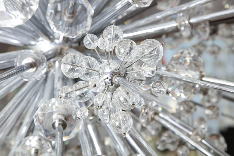 Glamorous Custom Austrian Crystal and Polished Nickel Spiked Sputnik Chandelier For Sale 4