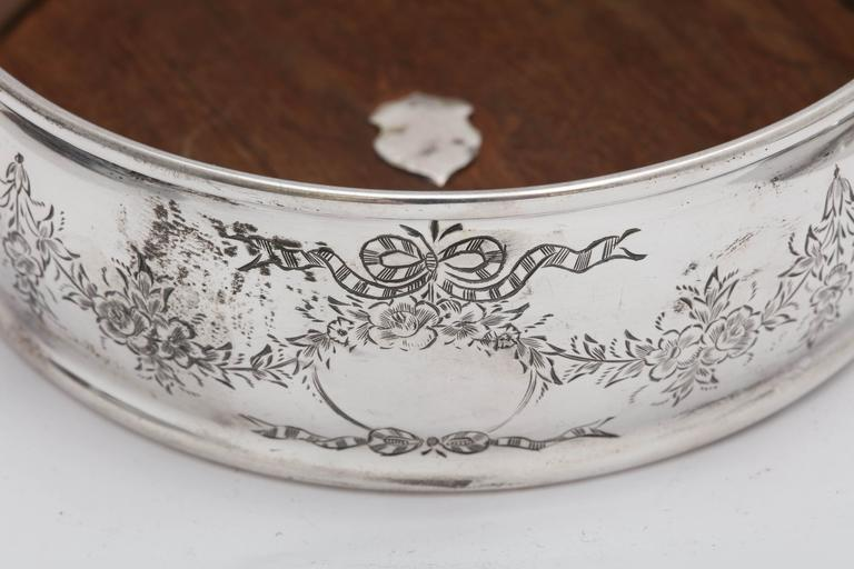 Edwardian Sterling Silver-Mounted Wood Wine Bottle Coaster In Excellent Condition For Sale In New York, NY