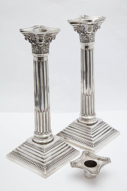 Tall Pair Of Sterling Silver Neoclassical Corinthian