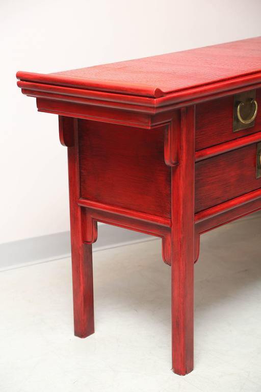 North American Stunning, Vintage, by Century, Oriental, Red Console Covered Top with Faux Skin For Sale