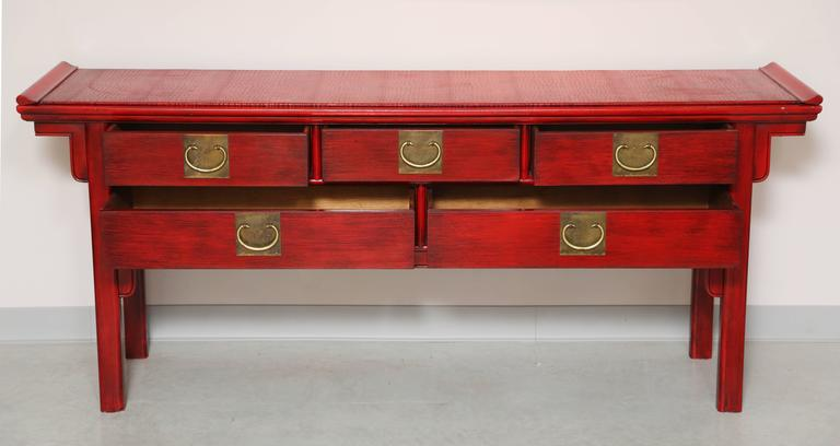 Stunning, Vintage, by Century, Oriental, Red Console Covered Top with Faux Skin In Excellent Condition For Sale In Miami, Miami Design District, FL
