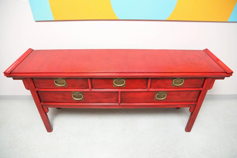 Stunning, Vintage, by Century, Oriental, Red Console Covered Top with Faux Skin For Sale 3