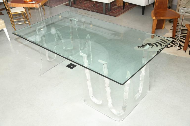 Lucite Dining Table or Executive Desk, Midcentury, Can Support Larger Glass Top 2