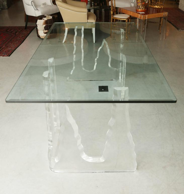 Lucite Dining Table or Executive Desk, Midcentury, Can Support Larger Glass Top 4