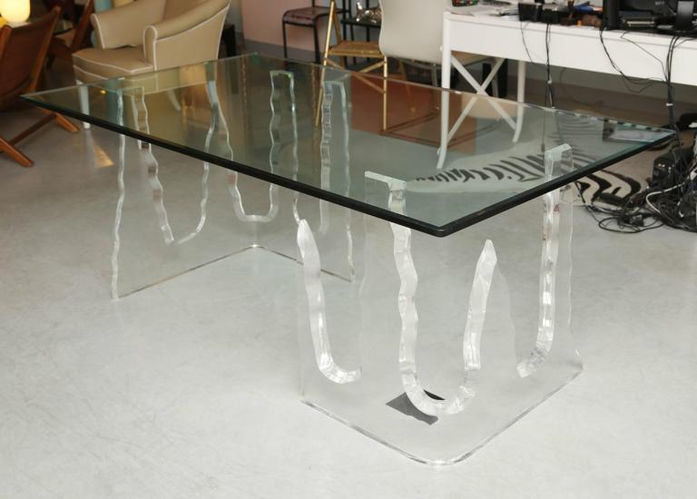 Lucite Dining Table or Executive Desk, Midcentury, Can Support Larger Glass Top 5
