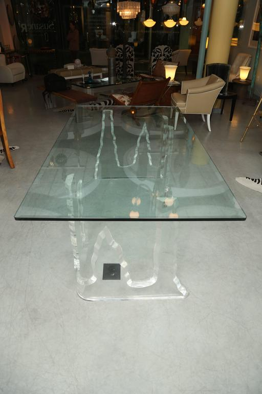 Lucite Dining Table or Executive Desk, Midcentury, Can Support Larger Glass Top 8