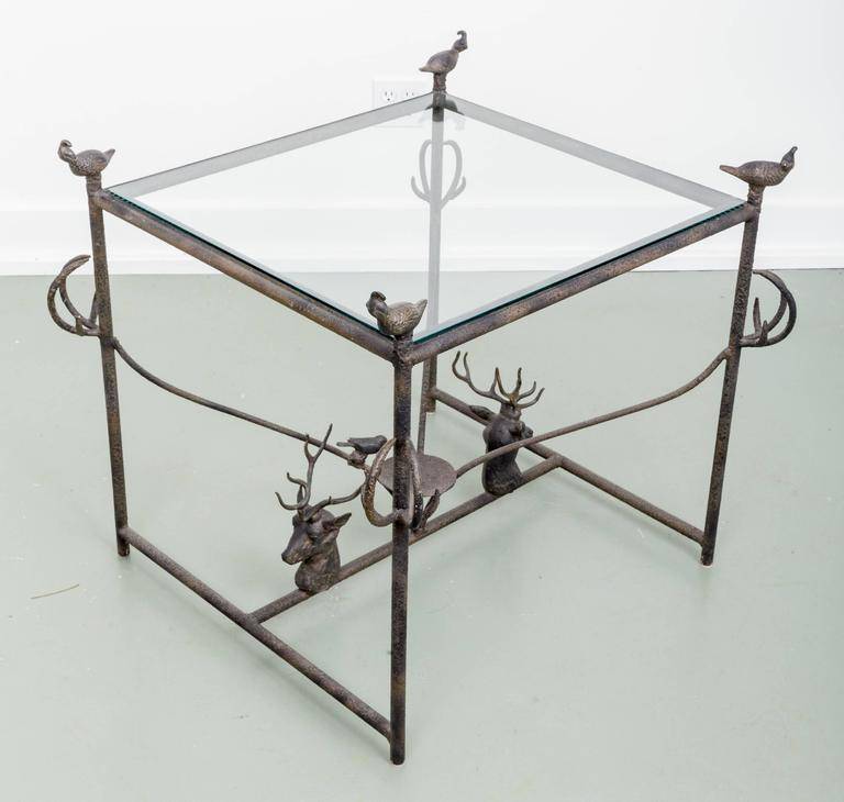 Incroyable Adirondack Decorative Metal Side Table With Quail And Stag Head Motifs For  Sale