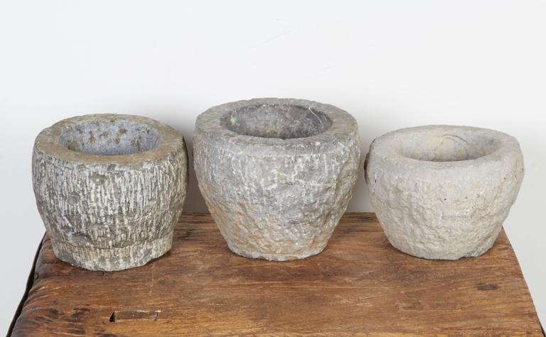 Finely Carved Chinese Stone Mortars In Good Condition For Sale In New York, NY