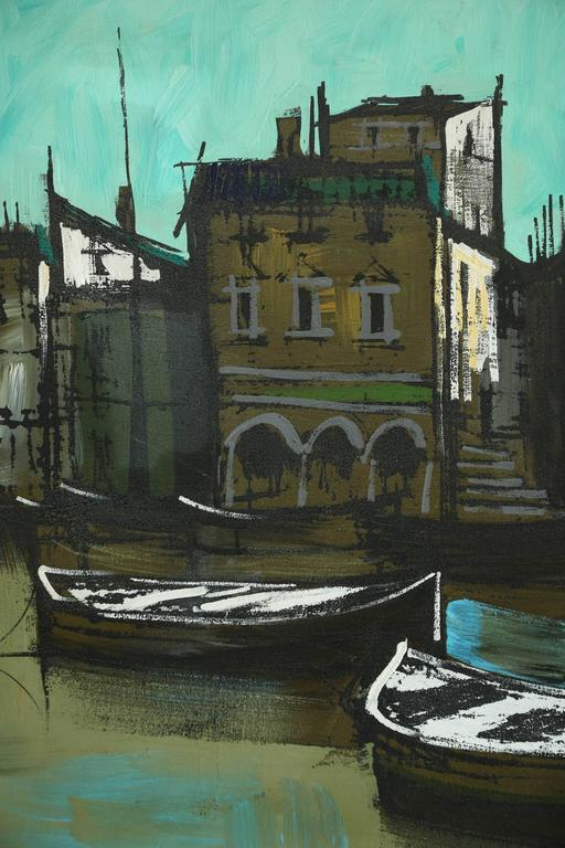Charming original oil depicting a European water front village.