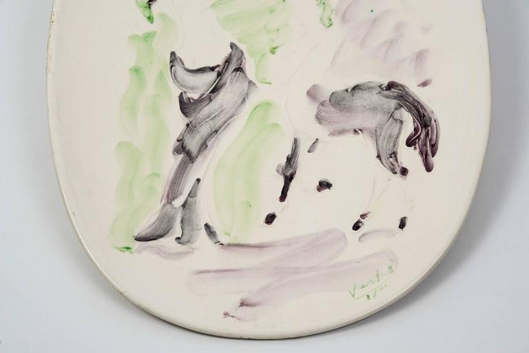 Marcel Vertes Beautiful Plate in Ceramic, Vallauris, circa 1955 3