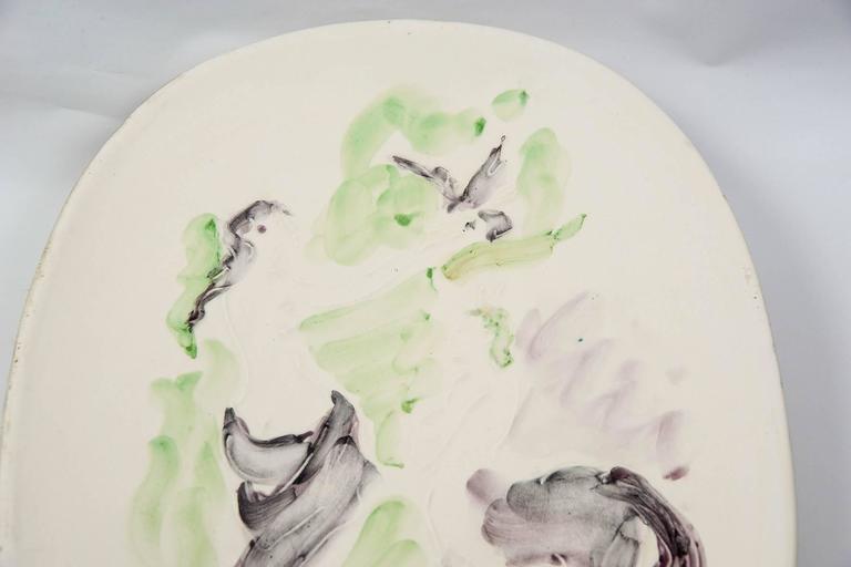 Marcel Vertes Beautiful Plate in Ceramic, Vallauris, circa 1955 4