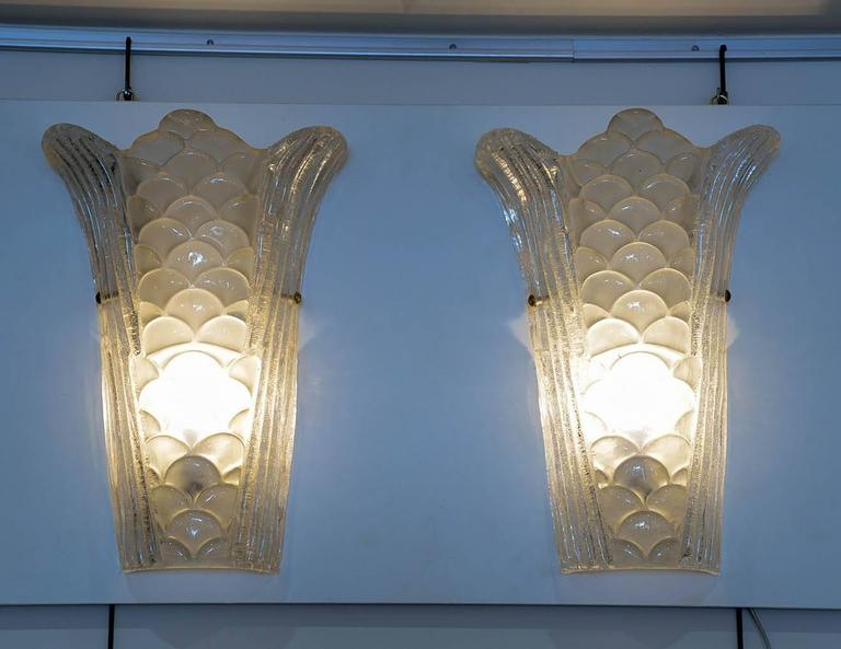 "Pair of Murano Glass Wall Sconces, model ""scales""
