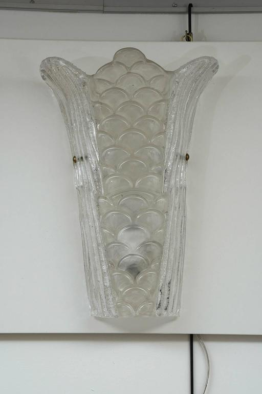 Italian Pair of Murano Glass Wall Sconces For Sale
