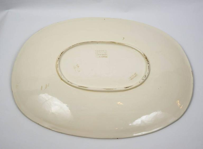 Mid-20th Century Marcel Vertes Beautiful Plate in Ceramic, Vallauris, circa 1955 For Sale