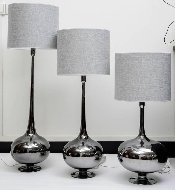 French Set of Table Lamps in Glass, Silvered Titanium Patina For Sale