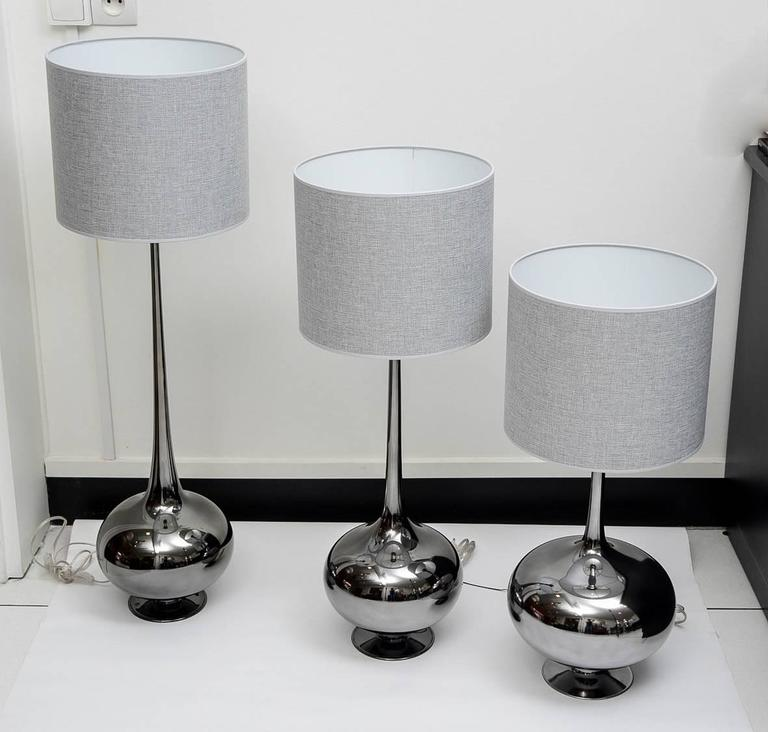 Plated Set of Table Lamps in Glass, Silvered Titanium Patina For Sale