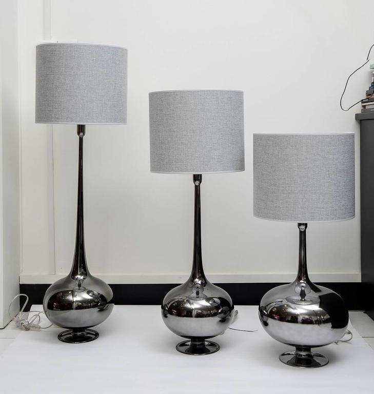Set of Table Lamps in Glass, Silvered Titanium Patina In Excellent Condition For Sale In Saint-Ouen, FR