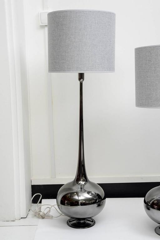 Contemporary Set of Table Lamps in Glass, Silvered Titanium Patina For Sale