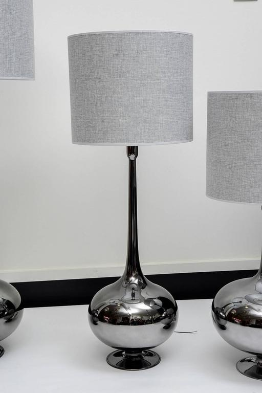 Set of Table Lamps in Glass, Silvered Titanium Patina For Sale 1