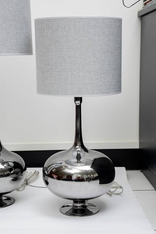 Set of Table Lamps in Glass, Silvered Titanium Patina For Sale 2