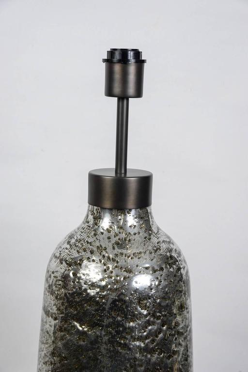 Gorgeous Pair of Oblong Table Lamps in Silvered Bubble Glass 2
