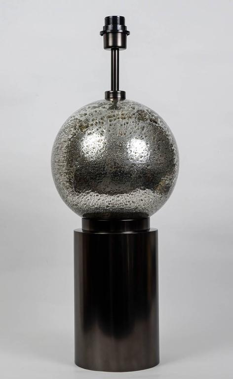 Bubbled Glass Table Lamp ( X 2 pieces), base in Brass, dark patina.