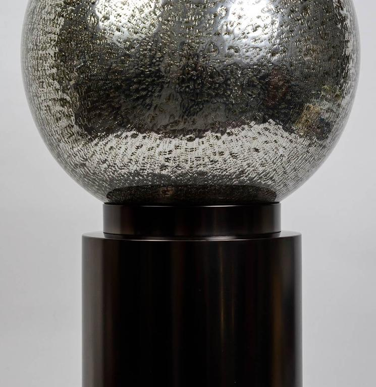 Patinated  Pair Of Bubbled Glass Table Lamps For Sale