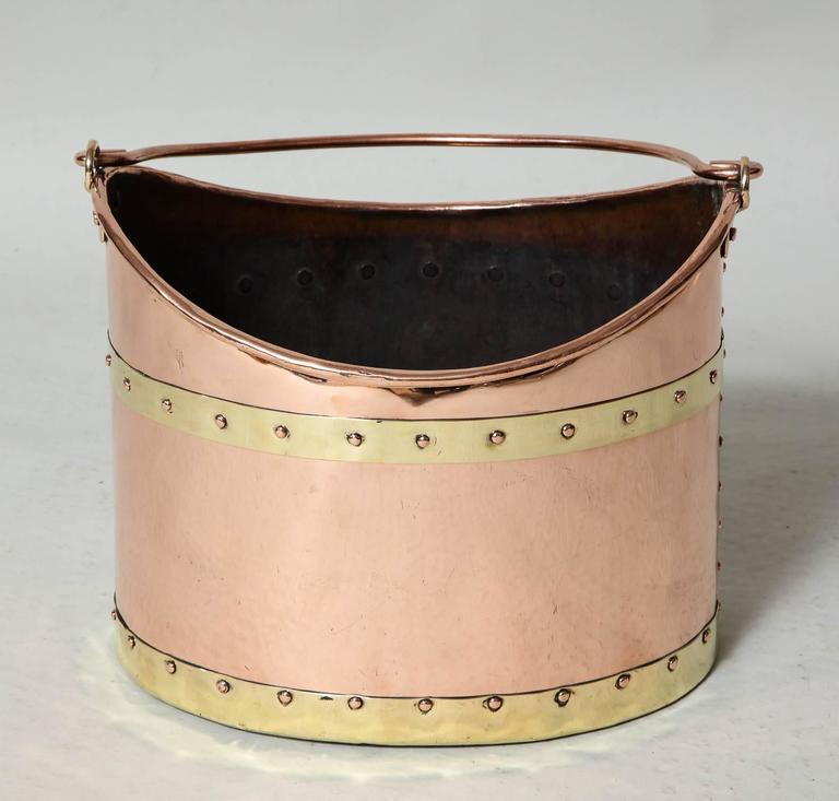 Early 19th Century Unusual Boat Shaped Copper Bucket For Sale