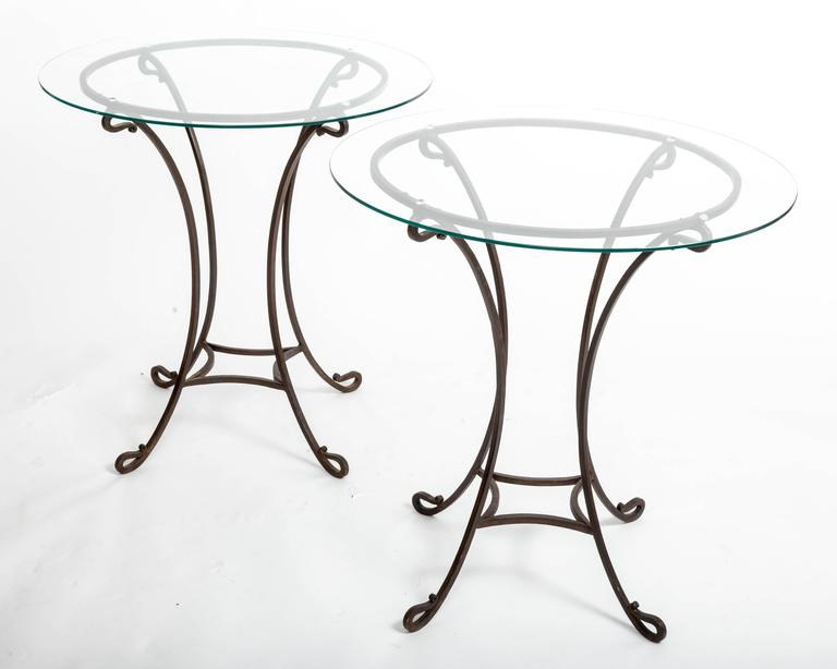 French Pair of Wrought Iron Side Tables, France, circa 1940s For Sale