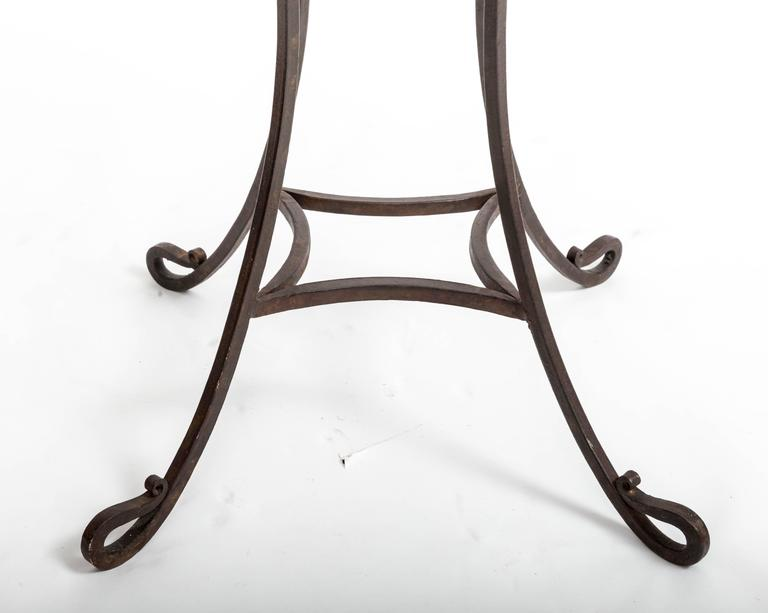 Mid-20th Century Pair of Wrought Iron Side Tables, France, circa 1940s For Sale