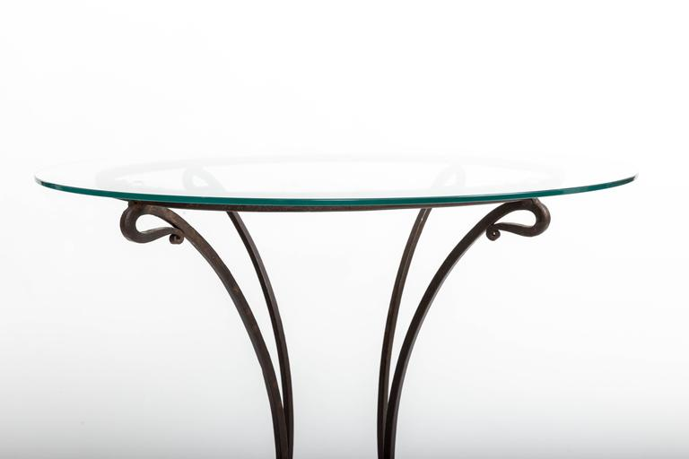 Pair of Wrought Iron Side Tables, France, circa 1940s For Sale 1