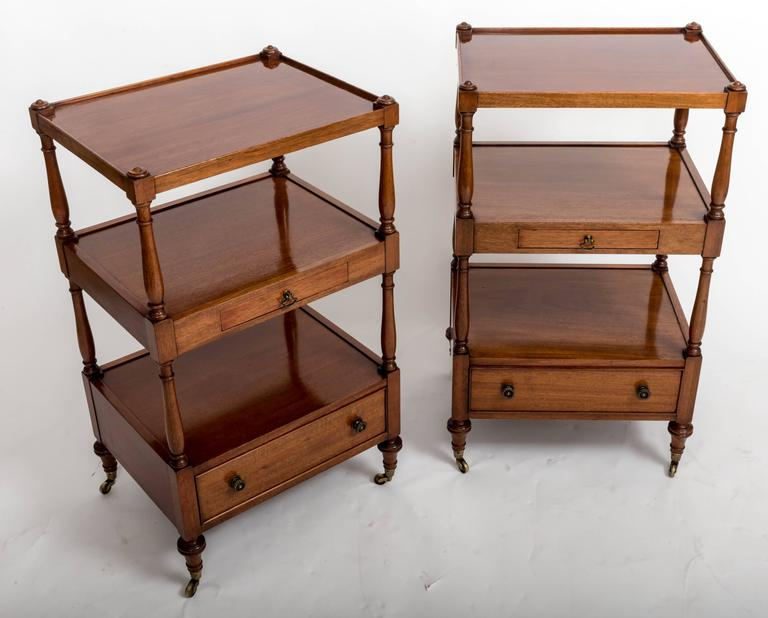 Very unique bedside etageres with two drawers in each, bottom drawers 3.5