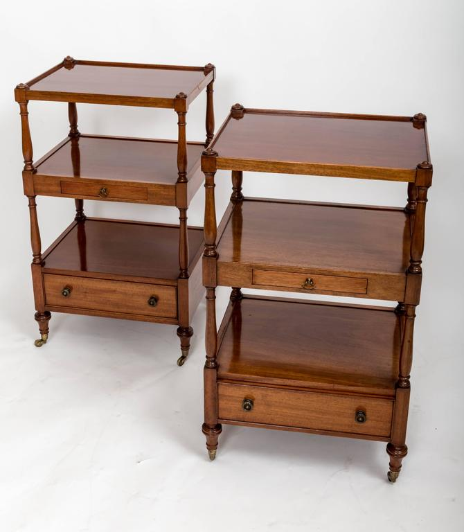 English Pair of Three-Tier Bedside Etageres, England, circa 1830 For Sale