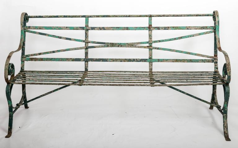 Early 19th Century Wrought Iron Garden Bench, England, circa 1820 3