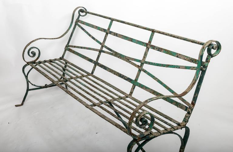 Early 19th Century Wrought Iron Garden Bench, England, circa 1820 4