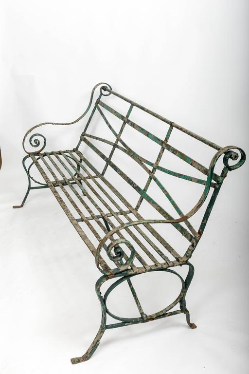 Early 19th Century Wrought Iron Garden Bench, England, circa 1820 2