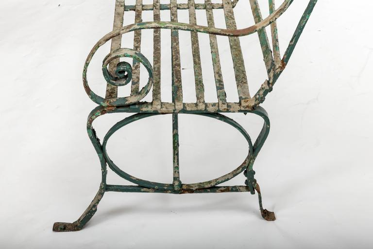 Early 19th Century Wrought Iron Garden Bench, England, circa 1820 6
