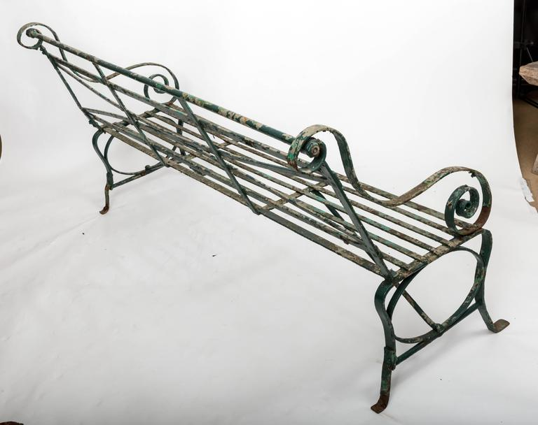 Early 19th Century Wrought Iron Garden Bench, England, circa 1820 9