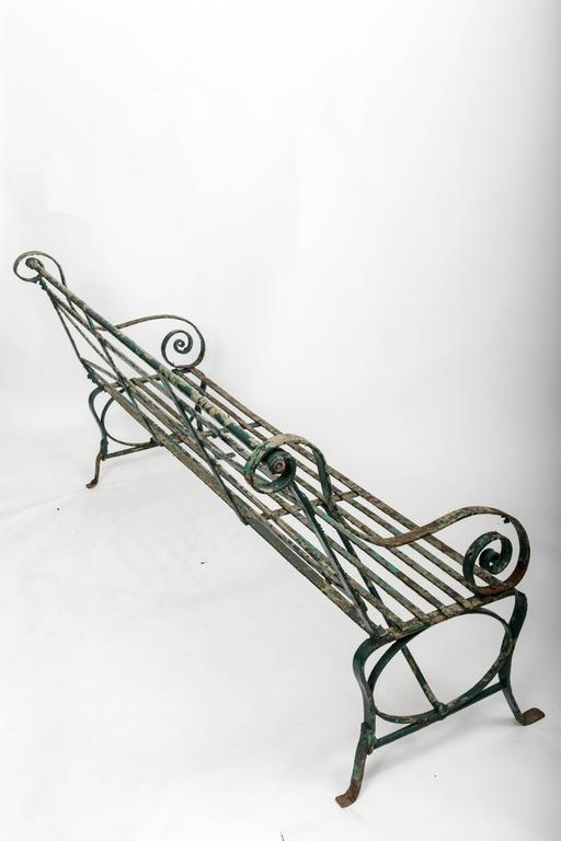 Early 19th Century Wrought Iron Garden Bench, England, circa 1820 10
