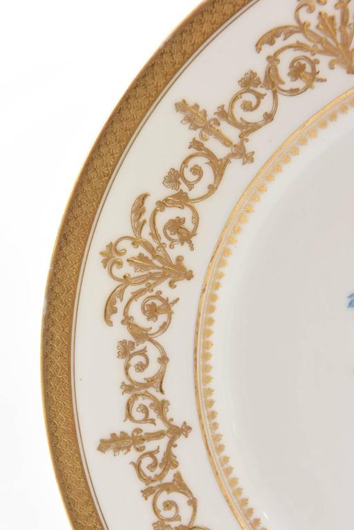 French Antique Limoges Floral Plates, Raised Gilt Accents, Set of Six
